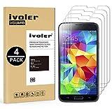 ivoler [4 Unidades] Protector de Pantalla Compatible con Samsung Galaxy S5 y S5 Neo, Cristal Vidrio...