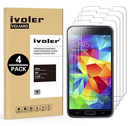 ivoler [4 Unidades] Protector de Pantalla Compatible con Samsung Galaxy S5 y S5 Neo, Cristal Vidrio Templado Premium [Dureza 9H] [Anti-Arañazos] [Sin Burbujas]