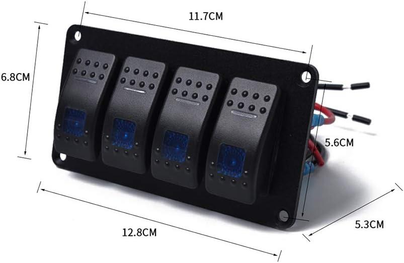 KKmoon Panel Interruptores 12V Basculantes 4 Gang y 5 pines Interruptor de Palanca LED Retroiluminados Encendido y Apagado Impermeable Barcos Marinos Remolques Camiones para Autom/óviles SUV