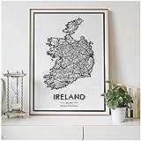 Mapa de carreteras del país de Irlanda, decoración nórdica para sala de estar, póster en lienzo, decoración moderna para el hogar, pintura artística impresa-50x70cm sin marco