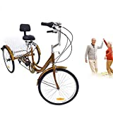 SHIOUCY 24 in Wheels Adult Trike, Adults Tricycle, High Tensile Steel Frame