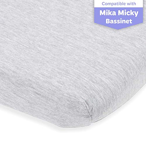 Bassinet Fitted Sheet Compatible with Mika Micky Bedside Sleeper –Snuggly Soft Jersey Cotton –...