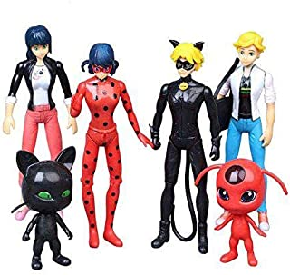 Miraculous Ladybug 6 pcs Action Figure Tikki Noir Cat Plagg Adrien Toys Gifts
