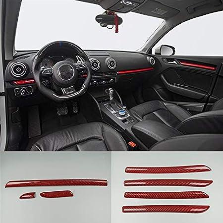 HDCF Voiture Styling Bandes De Porte De Voiture D/écoration Couverture Garniture ABS Fiber De Carbone Style Autocollant Pour A3 8V S3 Auto Accessoires