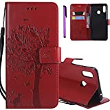 HMTECHUS Honor 8X Wallet case for Girls Elegant 3D Embossed Butterfly Magnetic Flip PU Leather Stand Card Holders Shockproof Protection Cover for Huawei Honor 8X Wishing Tree Red KT