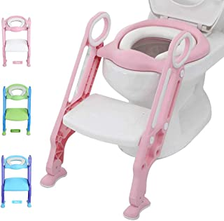 Potty Training Toilet Seat with Step Stool Ladder for Kid and Baby, Adjustable Toddler Toilet Training Seat with Soft Anti...