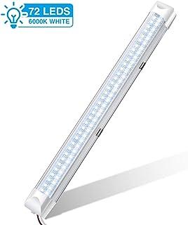 Audew Listwa LED z 72 diodami LED, 34,5 cm, z włącznikiem/wyłącznikiem, oświetlenie wnętrza samochodu, DC 12 V, biała 1 sz...