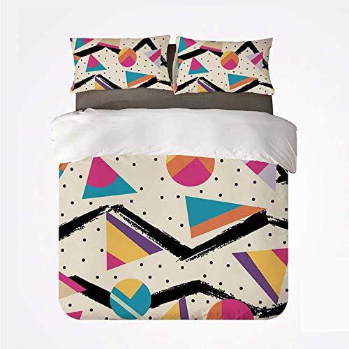 Indie Ochenta Memphis Moda Estilo Geométrico Abstracto Colorido Diseño con Puntos Funky,Juego de Ropa de Cama con Funda nórdica de Microfibra y 2 Funda de Almohada - 200 x 200 cm