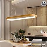 LED-Hängeleuchte Holz esstisch Pendelleuchte Modern Dimmbar Esszimmerlampe mit Fernbedienung, 70cm Ovale Design Deko Esszimmer-Lampe, Höhenverstellbar Holzlampe 33W Hängelampe aus Eiche & Acryl-Schirm