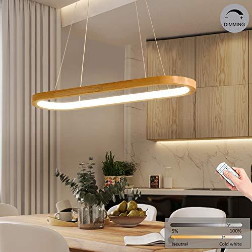 LED-Pendelleuchte Holz esstisch Hängeleuchte, Modern Dimmbar Esszimmer-Lampe mit Fernbedienung, 70cm Ovale Design Deko Esstischlampe, Höhenverstellbar Holzlampe, 33W Hängelampe Aus Eiche/Acryl-Schirm