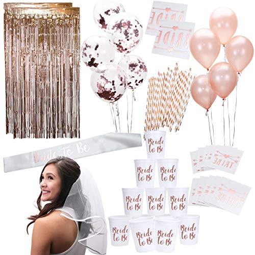 Rose Gold Pink Bachelorette Party Supplies Decorations Kit | Balloons, Backdrop, Cups, Straws, Tattoos, Sash, and Veil