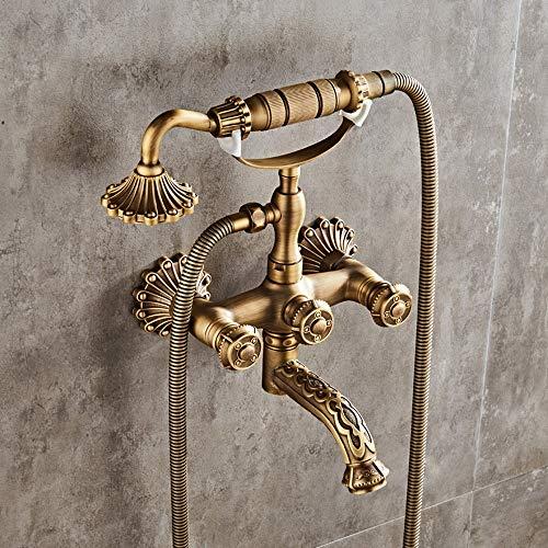 AXWT Villa de lujo de lujo de latón con ducha de baño con ducha de lluvia, cabezal de ducha de lluvia, tina de rociado de mano grifo de doble mango frío y agua caliente de latón antiguo montaje en par