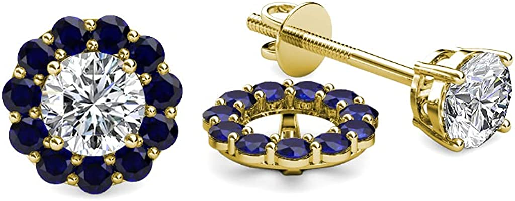 TriJewels Blue Sapphire Halo Jacket for Stud Earrings 0.57 ct tw in 14K Yellow Gold