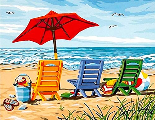JMbeauuuty 5D Diamond Painting Number Kits for Adult and Kids DIY Full Drill Beach Chair Arts Craft for Home Wall Decor Ideas for Gift (16x12in)