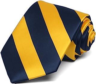TieMart Boys' Navy Blue and Golden Yellow Striped Tie