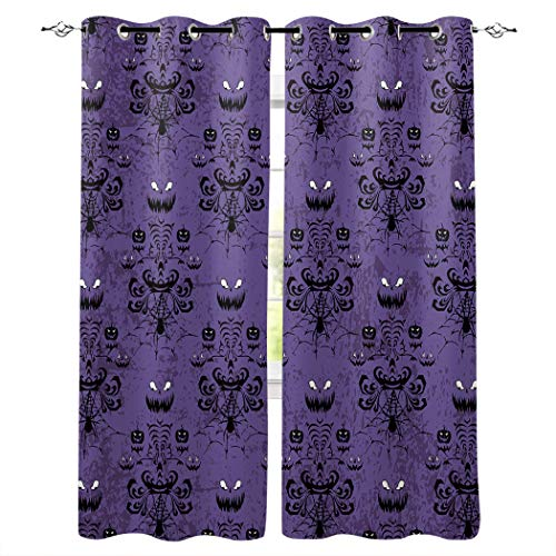 """Libaoge Draperies & Curtains Panels for Bedroom Haunted Halloween Mansion - Grim Grinning Ghosts Window Curtains for Solding Glass Door - Set of 2 Panels, 104"""" W by 96"""" L"""