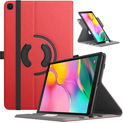 TiMOVO Custodia Protettiva Compatibile con Samsung Galaxy Tab A 10.1 2019(T510/T515), Cover a Rotazione 90 Gradi per Tablet, Case a Tre Sezioni Auto Sveglia e Sonno, Rosso