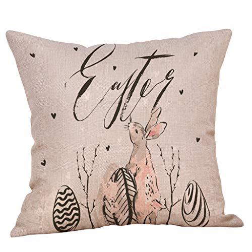Moent 1 funda de almohada de conejo de Pascua, 45,7 x 45,7 cm, cuadrada, de lino, para sofá, coche, funda de cojín suave, funda de almohada oculta, con cierre oculto, para decoración del hogar