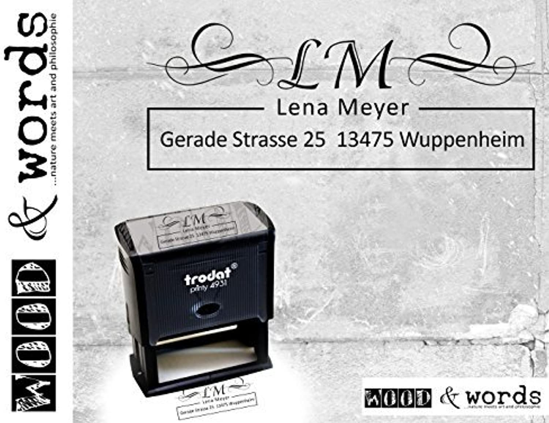 Stempel Trodat Printy - Automatikstempel mit Stempelkissen - Monogram mit individueller Adresse B011BL80B2  | Schönes Design