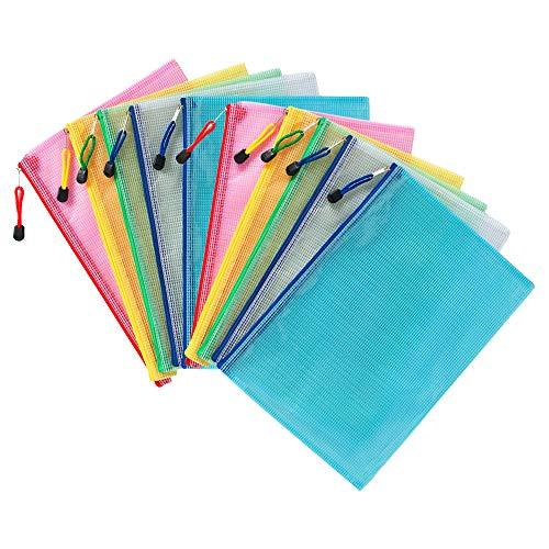 COWORK - 10 sacchetti con chiusura a cerniera, in plastica, per documenti e documenti, in rete, per ufficio, casa, scuola, viaggi (multicolore, formato A4 30,4 x 20,8 cm)