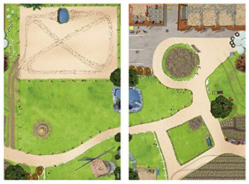 Bundle Pferdekoppel & Bauernhof Spielmatten (ähnlich Spielteppich) | SM09 & SM01 | Spiel-Matte | ideales Zubehör zu Spiel-Figuren von Schleich, Playmobil, Papo, Bullyland | 150x100 cm