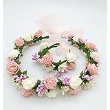 ハナ(HANA)女の子憧れの ロマンチックな お花の冠 結婚式 写真撮影などにも 花かんむり リストレット (腕輪) 2点 セット 髪飾り ヘアーアクセサリー
