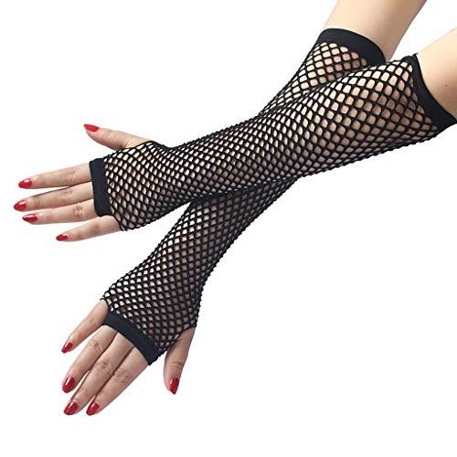 yanni Mitaines longues en résille pour femme Style punk gothique Couleur unie Avec trou pour le pouce Longueur du poignet
