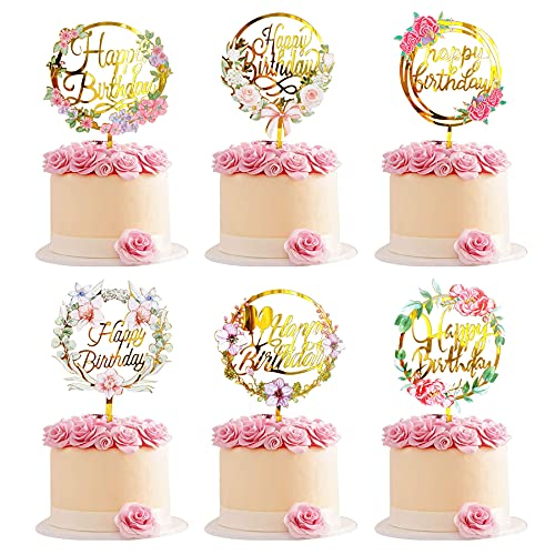 Sunshine smile Blumen Happy Birthday Cake Topper Set, acryl Cake Topper,Happy Birthday Cake Torte Topper,Glitter Geburtstag Kuchen Topper,Happy Birthday tortenstecker.