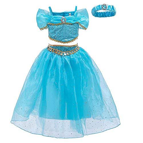 LAMF Disfraz de Princesa Jasmine con Lentejuelas para niñas, Vestido de Princesa Aladdin Jasmine para Fiesta de Halloween para niños (130)