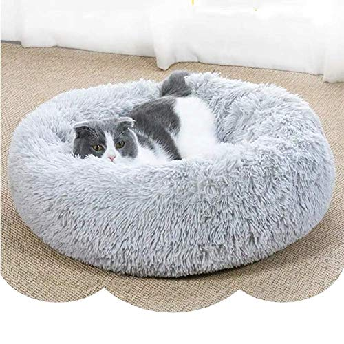 Soft Plush Dog Bed with Removable Liner, Thick Padded Pet Cushion Orthopedic Cat Kennel Small Medium Large Dog Basket, Washable-Light Gray-L