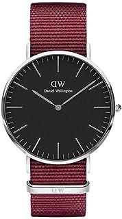 Daniel Wellington DW00100270 Fabric-Band Black-Dial Round Analog Unisex Watch - Maroon