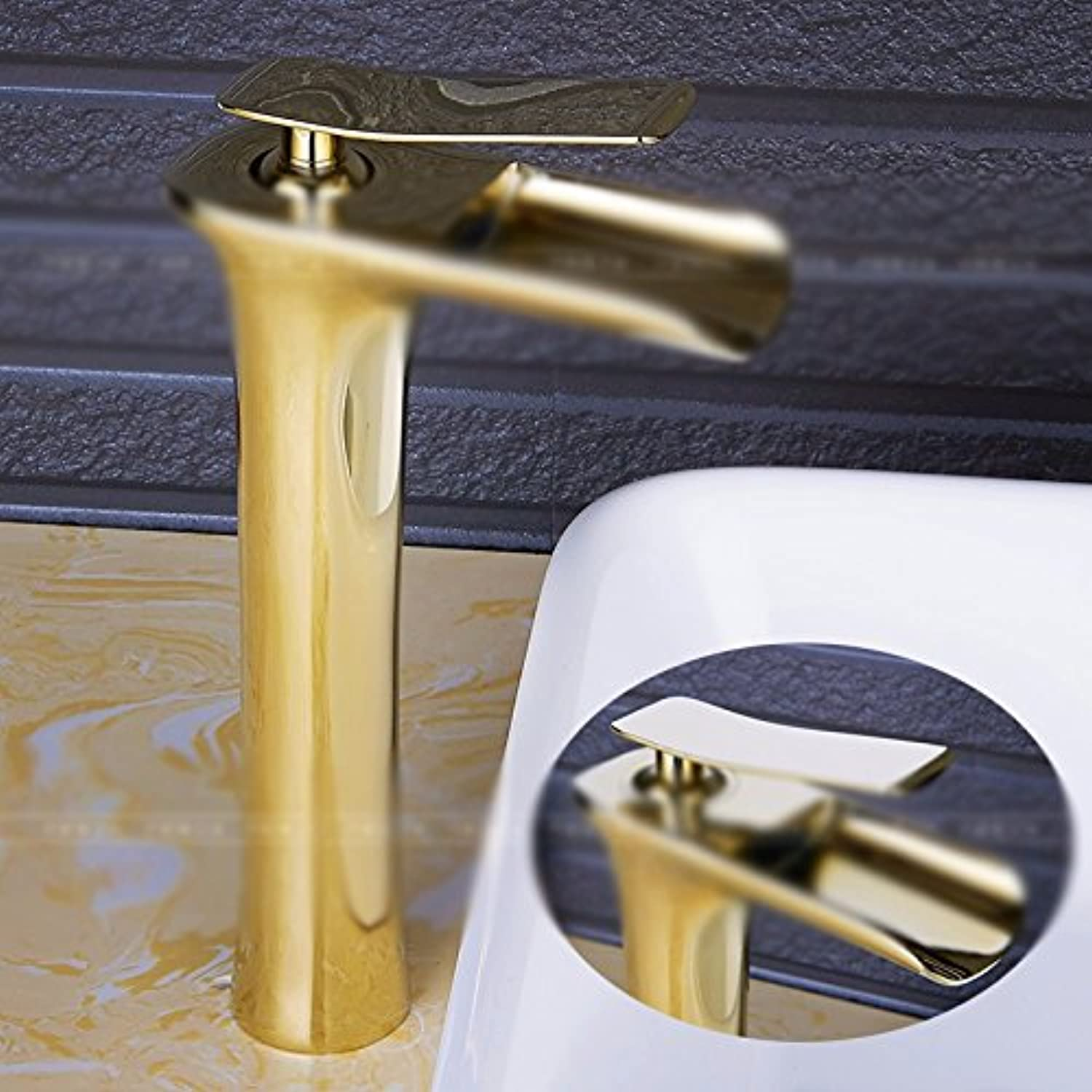 Hlluya Professional Sink Mixer Tap Kitchen Faucet The copper, waterfalls, single handle single hole, hot and cold, and the sink faucet,M