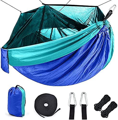 QQW Haa para Acampar Al Aire Libre Portátil con Mosquitero Neta de Alta Resistencia de Paracaídas de Paracaídas Acampar Haa Caza Colgando Swing,Azul Mar Azul Claro