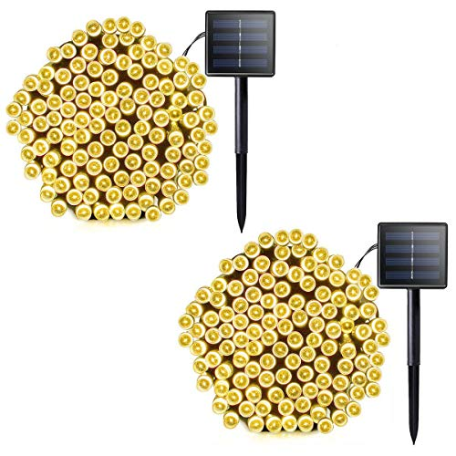 Lalapao 2 Pack Solar String Lights 72ft 22m 200 LED 8 Modes Solar Powered...
