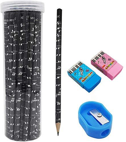 MOREYES Music Pencil 3 Dutzend 36er Pack mit 1 Radiergummi und 1 Anspitzer für Schüler und Lehrer (Clef-black 36er Pack)