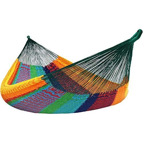Sunnydaze Mayan Family Hammock Hand-Woven XXL Thick Cord, Heavy Duty 880-Pound Capacity, Multi-Color