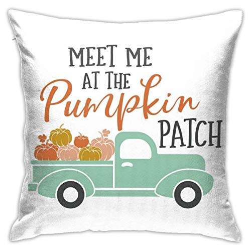 Fall Meet Me at The Pumpkin Patch Harvest Truck Throw Pillow Covers Decorative 18x18 Inch Pillowcase Square Cushion Cases for Home Sofa Bedroom Livingroom