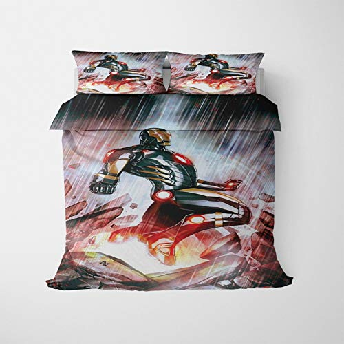 ASDZXC Iron Man - Juego de cama con funda de edredón y funda de almohada con cremallera, diseño de impresión 3D, 220 x 260 cm