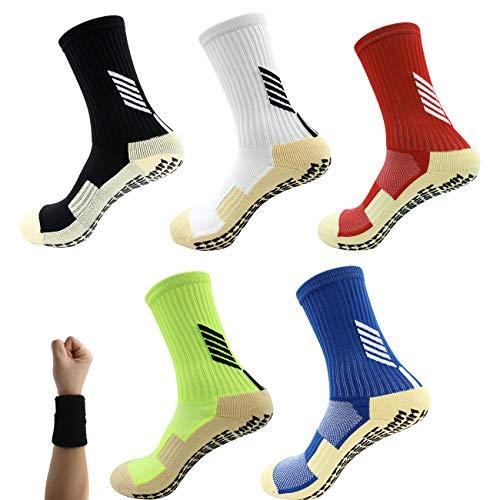 Dee Plus Kinder Soccer Socken rutschfeste Fußball Socken Basketballsocken, 1 Paar Jungen Mädchen Weiche Kinderstrümpfe Anti Rutsch Socken Kinder Grip Knöchelsocken Größe 25-32 für 6-11 Jahre (Weiß)