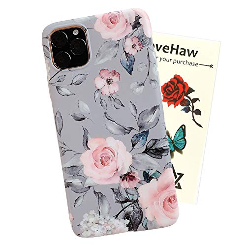 """iPhone 11 Pro Case for Girls, YeLoveHaw Flexible Soft Slim Fit Full-Around Protective Cute Shell Phone Case Cover with Purple Floral and Gray Leaves Pattern for iPhone 11Pro 5.8"""" (Pink Flowers)"""