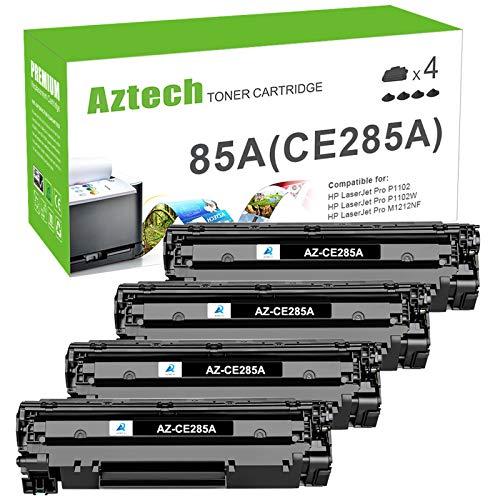 Aztech Compatible Toner Replacement for HP 85A CE285A Toner Cartridge for HP Laserjet Pro P1102w 1102w M1212nf MFP Toner Cartridge HP Laserjet Pro P1109w M1210 P1102w Ink Cartridge (Black, 4-Pack)