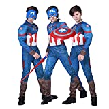 QIAOPING Capitán América Cosplay Disfraces Mono para niños Estilo Muscular Animes Fiesta Mono Conjunto,Captain America-L