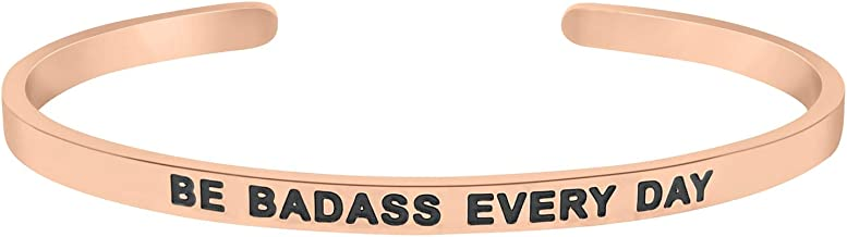 'Be Badass Every Day'' Motivational Mantra Quote Cuff Bracelet, Graduation Gift, Birthday Jewelry Gifts for Women, Teen Girls