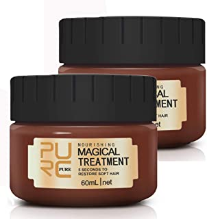 2 Pack Magical Hair Treatment Mask, 60ml Advanced Molecular Hair Roots Treatment Professtional Hair Conditioner, 5 Seconds to Restore Soft Hair, Deep Conditioner Suitable for Dry & Damaged Hair