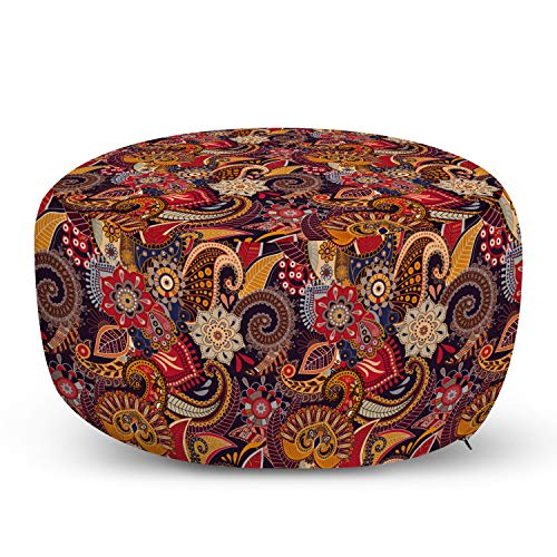 Ambesonne Asian Ottoman Pouf, Ethnic Floral Theme Oriental Paisley Patterns with Plants Motif in Warm Tones, Decorative Soft Foot Rest with Removable Cover Living Room and Bedroom, Red Mustard