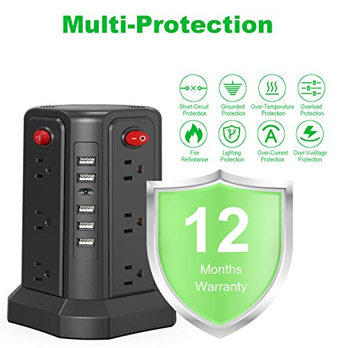 SMALLRT Surge Protector Power Strip 16.4FT/5M 5 USB Ports 12 Outlet Power Strip with USB Long Cord Outlet Surge Protector Tower Overload Protection, Short Circuit Protection 4