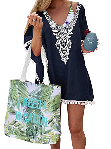 Adreamly Women#039s Pom Pom Trim Kaftan Crochet Chiffon Swimwear Bathing Suit Beach Cover Up Free Size Navy Blue