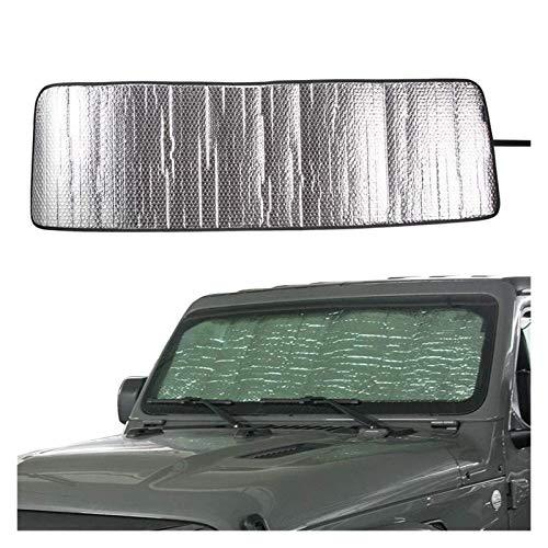 LIUWEI Auto Car Front Windshield Sunshade Sun Shade Fit para 2018 2019 Jeep Wrangler Sahara Rubicon Jl Jlu 2 Puertas y 4 Puertas Sol Visor Mat (Color : Silver)