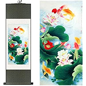 Features Chinese Style Ink Chinese Silk Watercolor Lotus Fish Red Fish Carp Flower Art Photo Canvas Wall Feng Shui Damask Framed Roll Gift 100X30CM Painting Package Yellow Color: Green Package