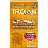 Trojan Ultra Ribbed Spermicidal Condoms, 12 count (Pack of 2)